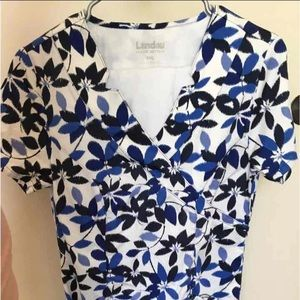 SALE Blue Floral White Scrub Top